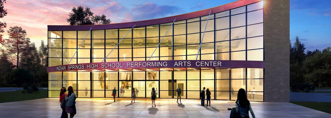 External view of Indian Springs High School Performing Arts Center facade