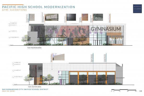 Pacific High School Modernization Gym Elevations